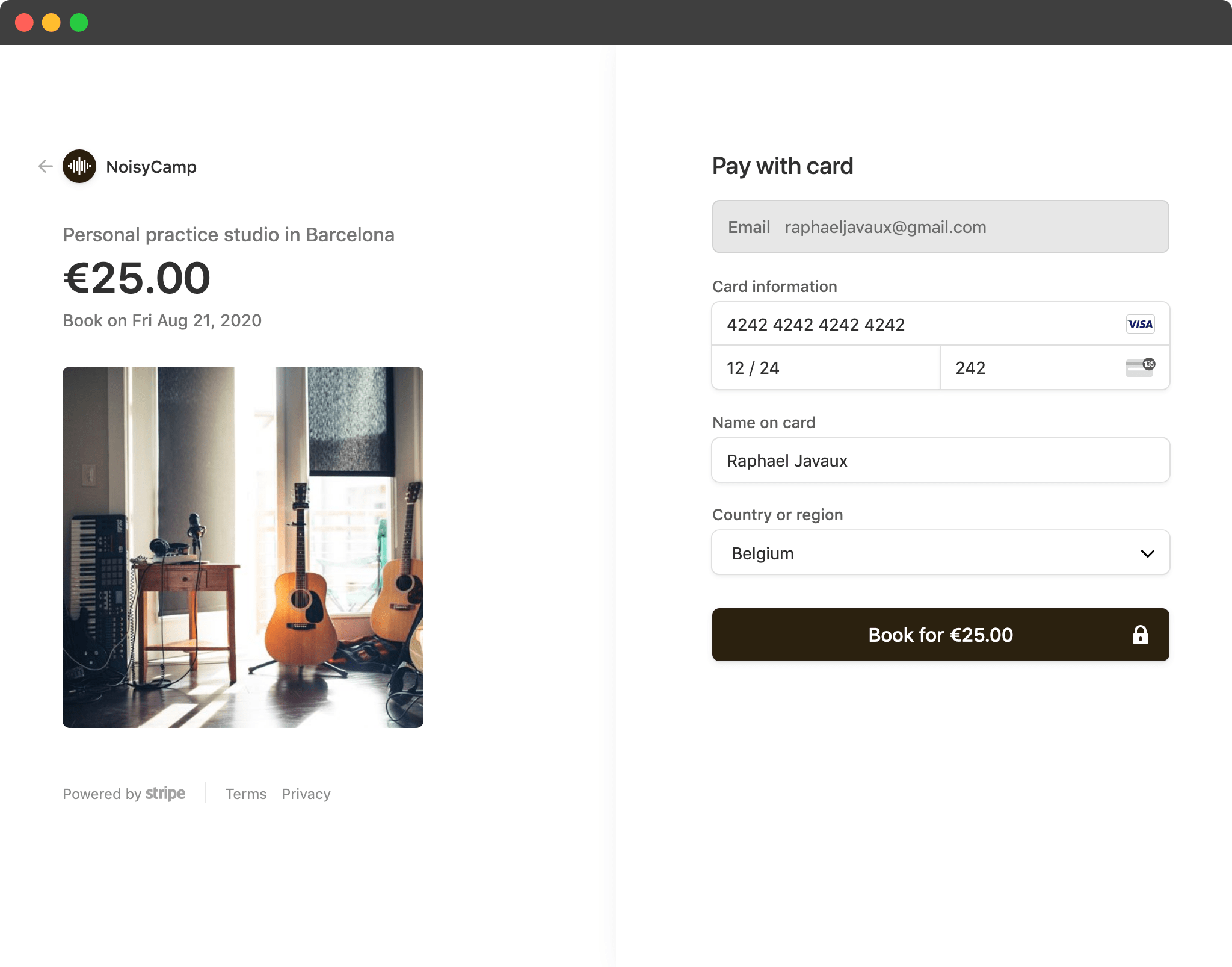 Secure online payments screenshot.