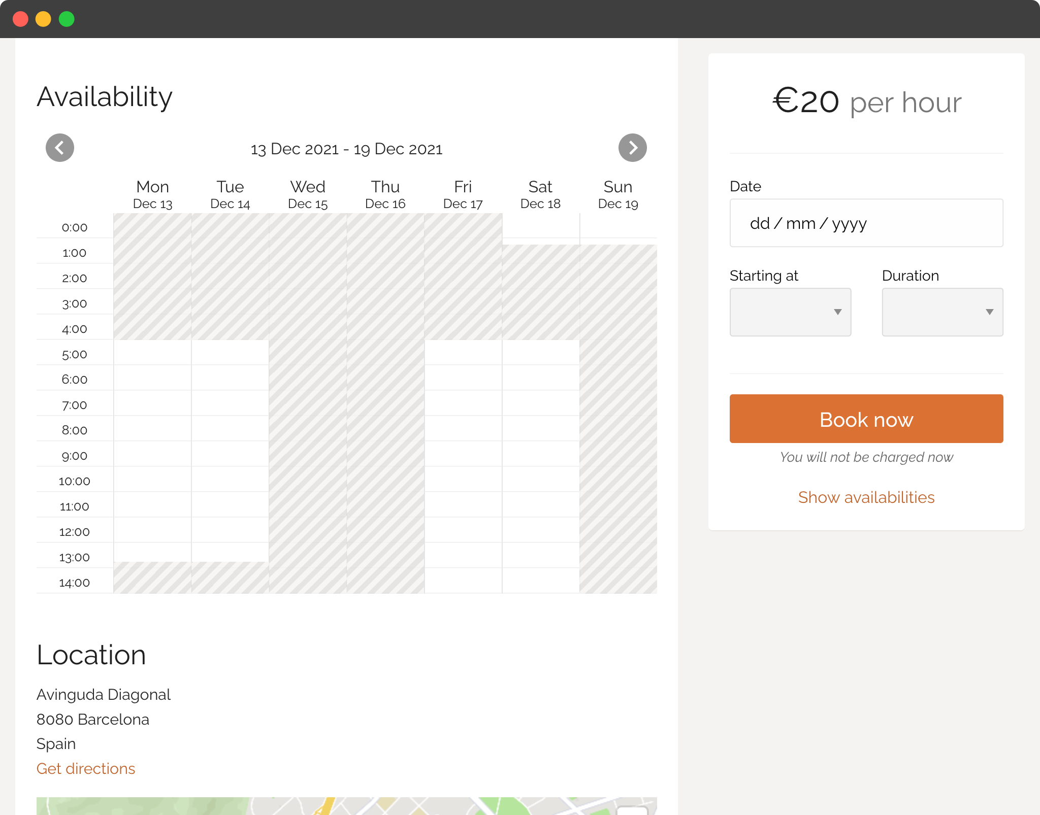 Real-time online availabilities screenshot.